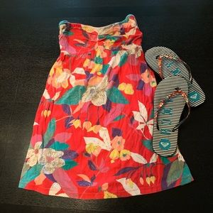 Roxy Sundress coverup and matching flip flops